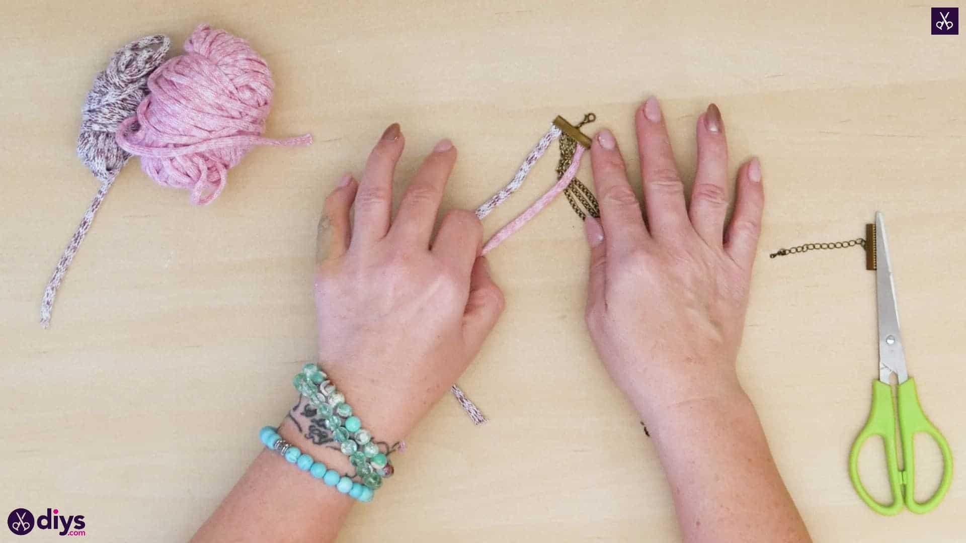Yarn and chain bracelet step 3