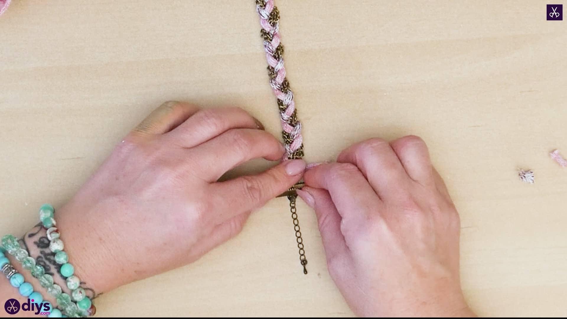 Yarn and chain bracelet step 5