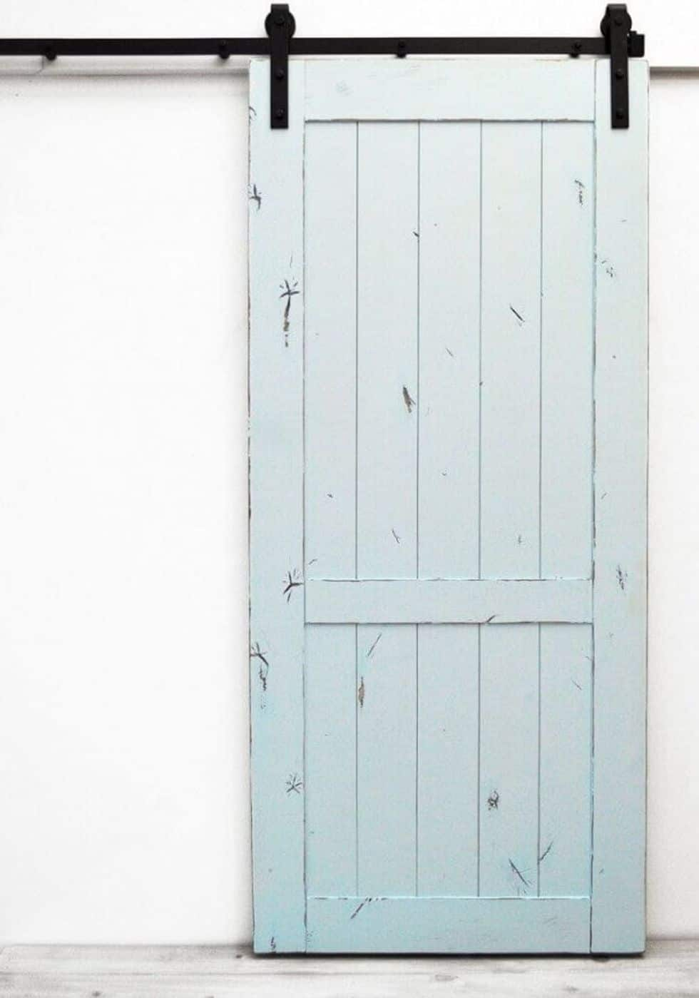 Baby blue barn door