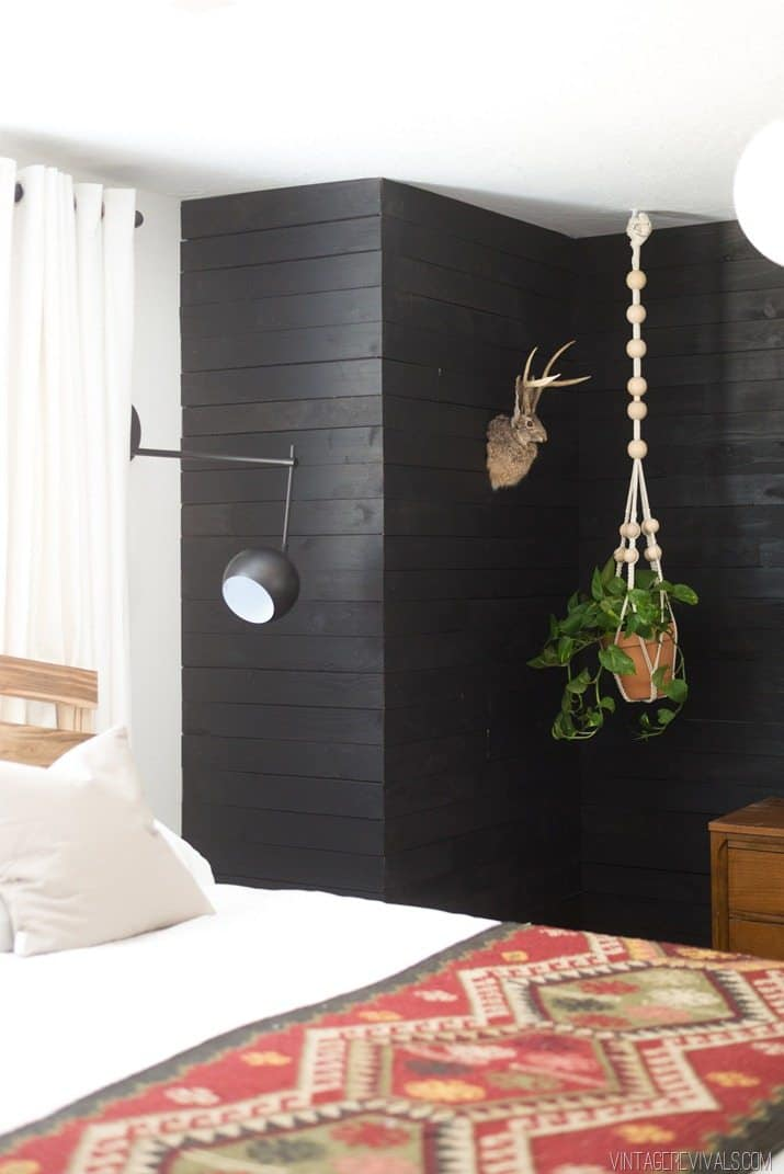 Black shiplap diy wall