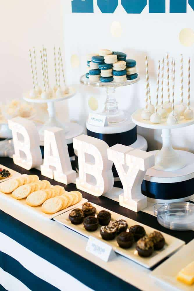 Blue and white dessert table