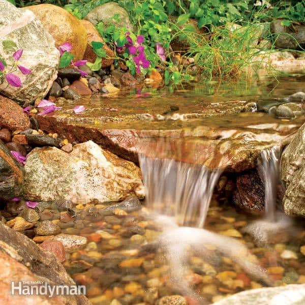 Build a backyard waterfall and stream diy