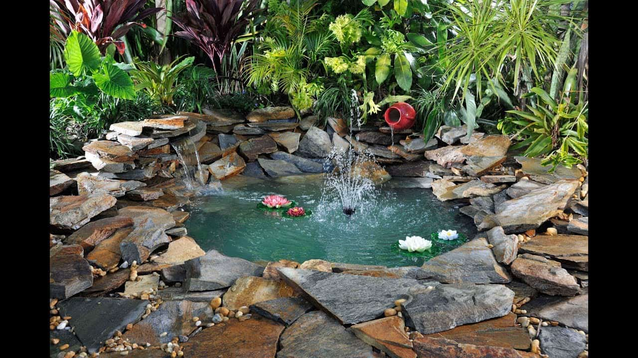 Diy pond and waterfall in the backyard