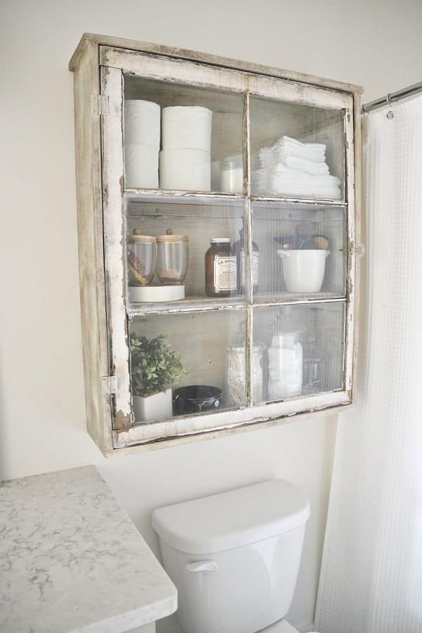 Diy window storage bathroom