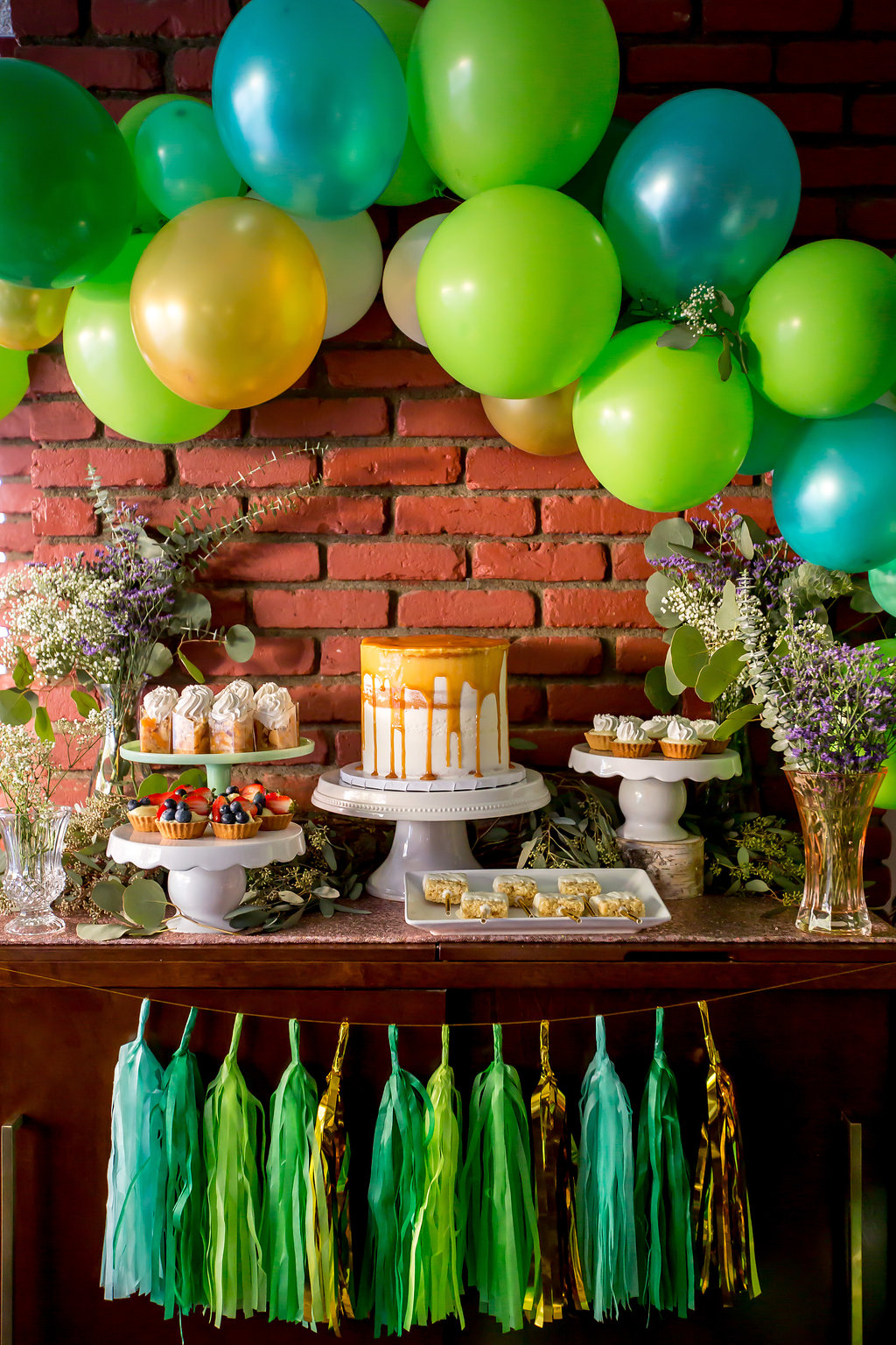 Greenery baby shower dessert table