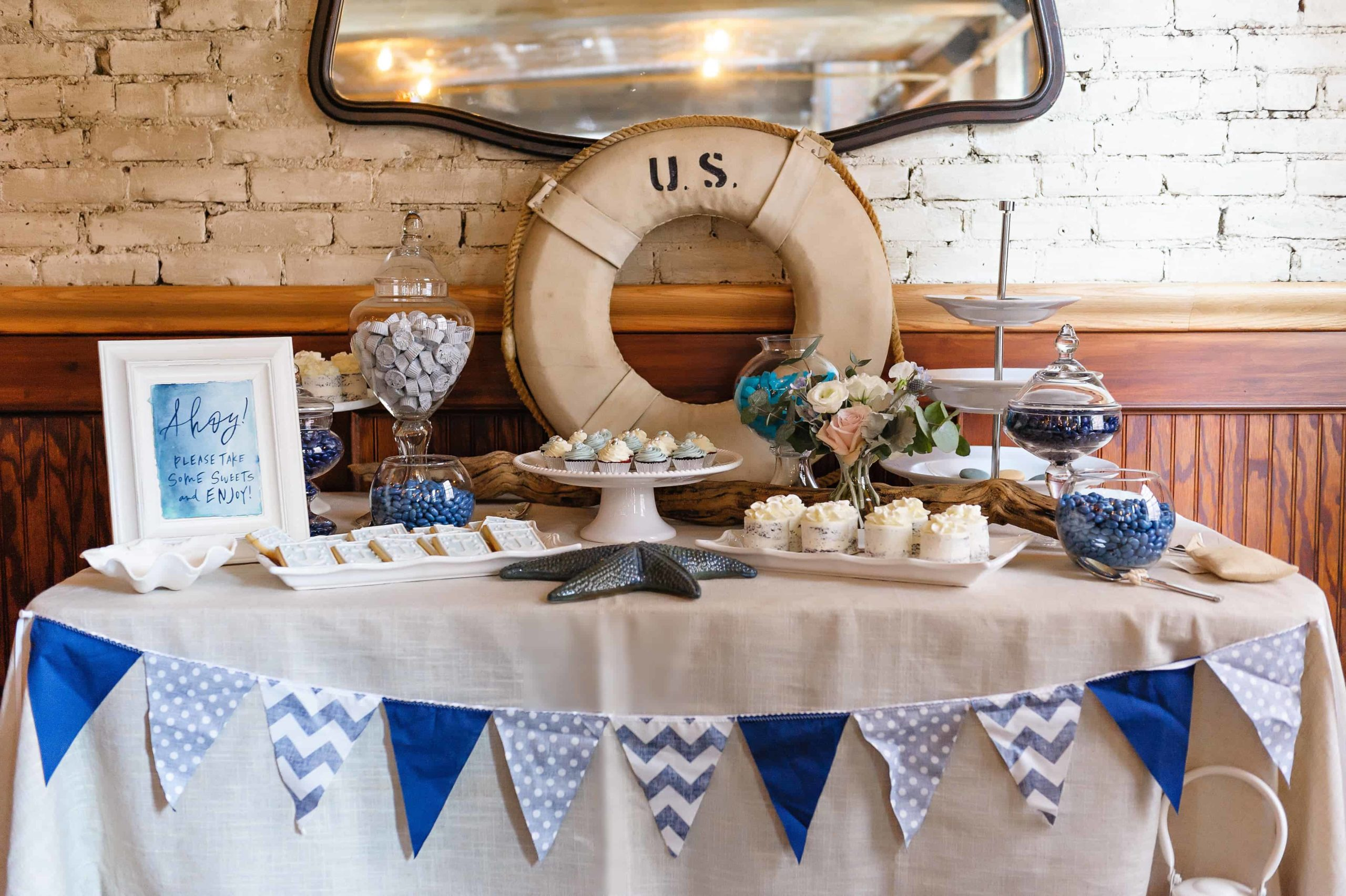 Nautical baby shower dessert table nautical