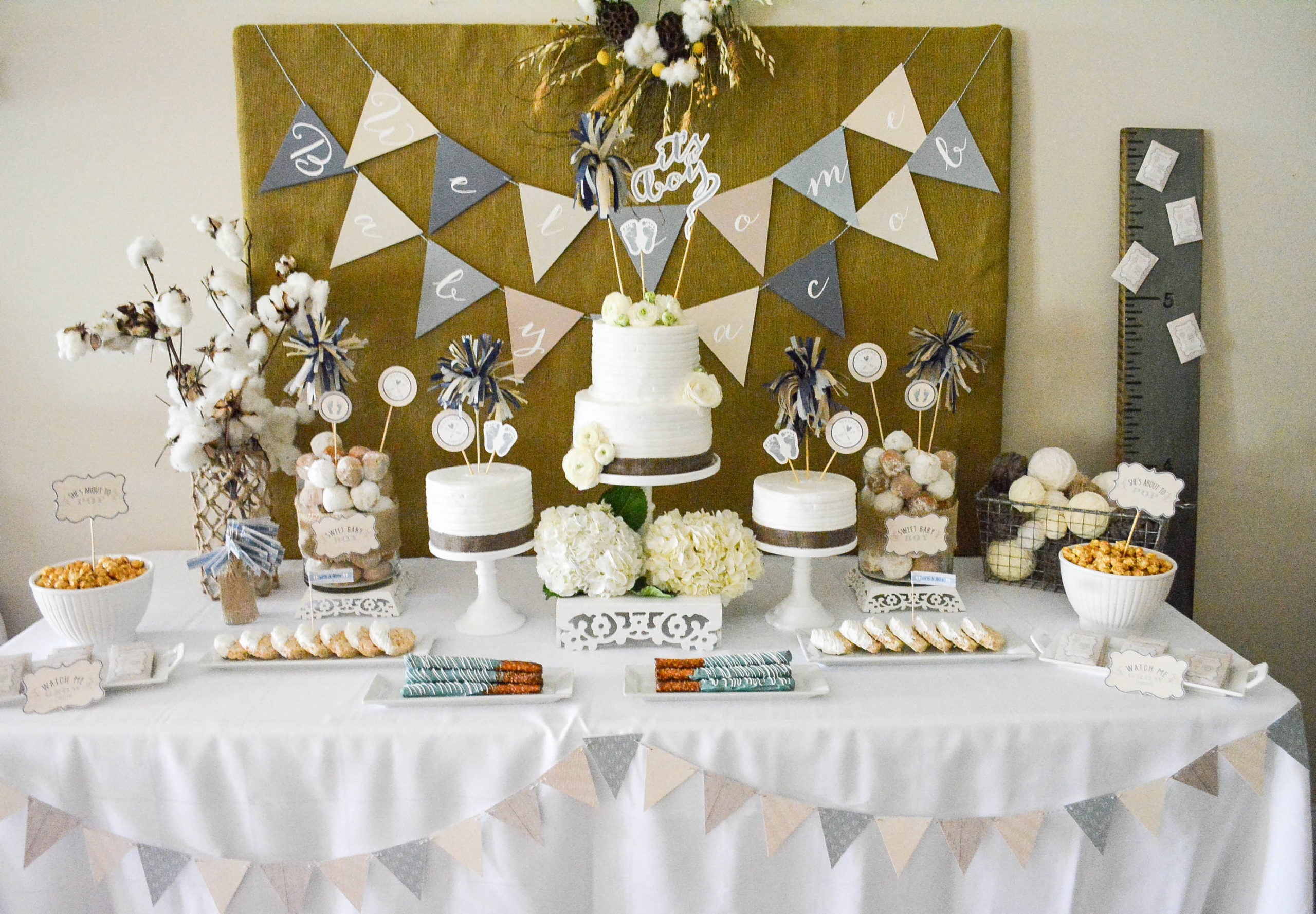 Rustic baby shower dessert table