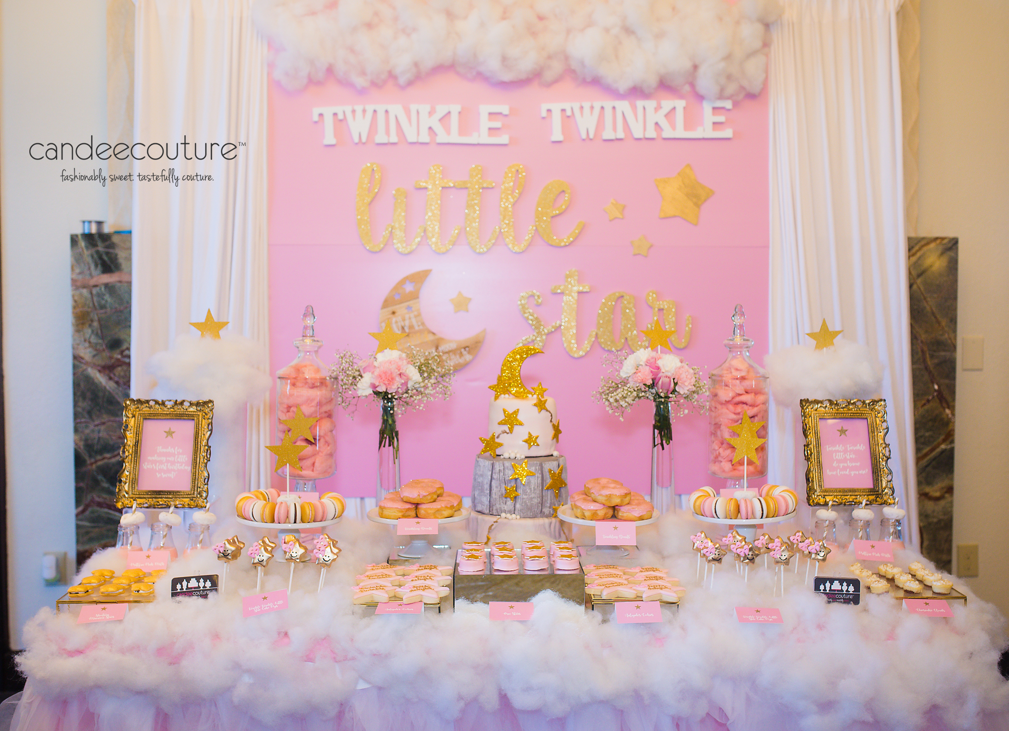 Twinkle little star baby shower dessert table