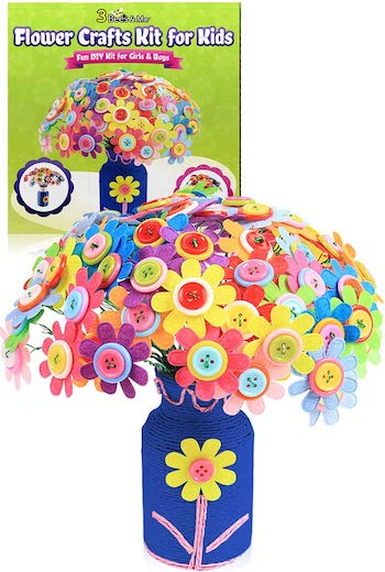 3 bees & me button flowers craft kit