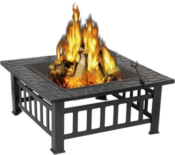 Bbq square table backyard patio garden stove wood