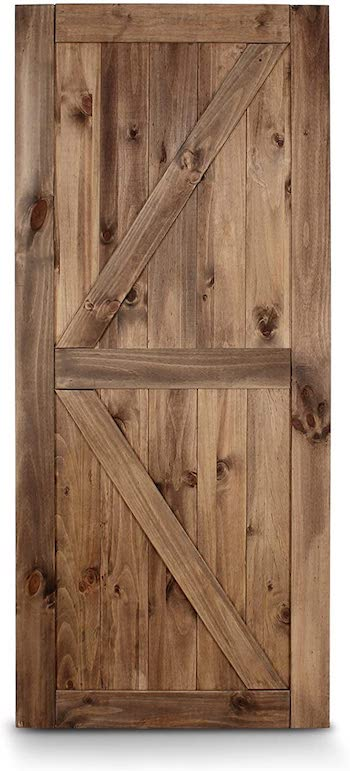 Belleze unfinished knotty pine wood sliding barn door