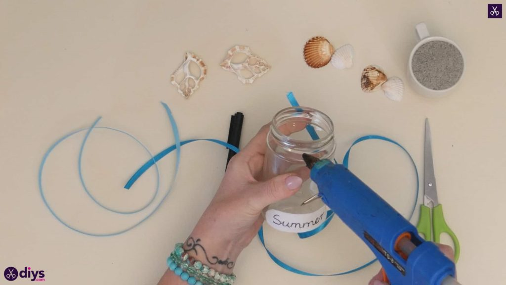 Diy beach inspired mason jar decor step 3