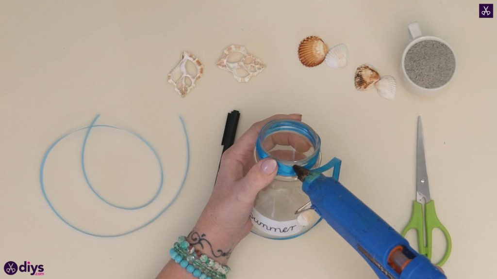 Diy beach inspired mason jar decor step 3b