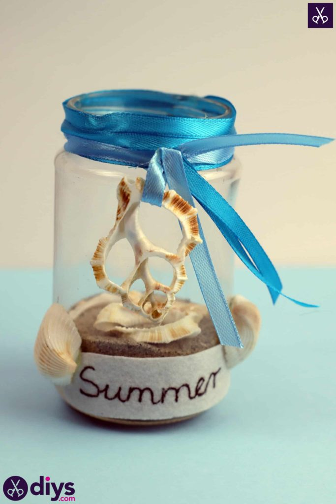 Diy beach inspired mason jar decor top robbon rustic
