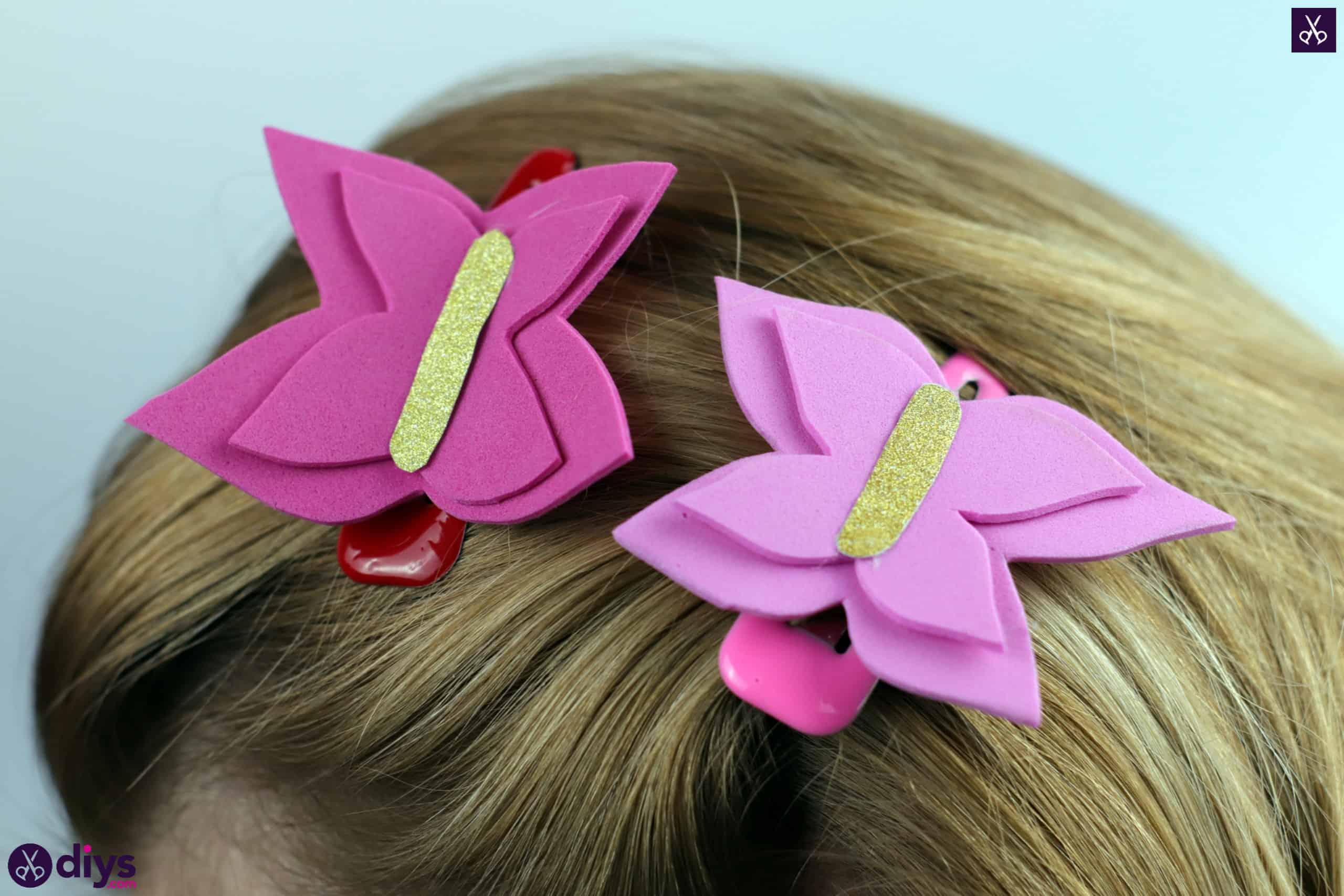 Diy butterfly barrette hair
