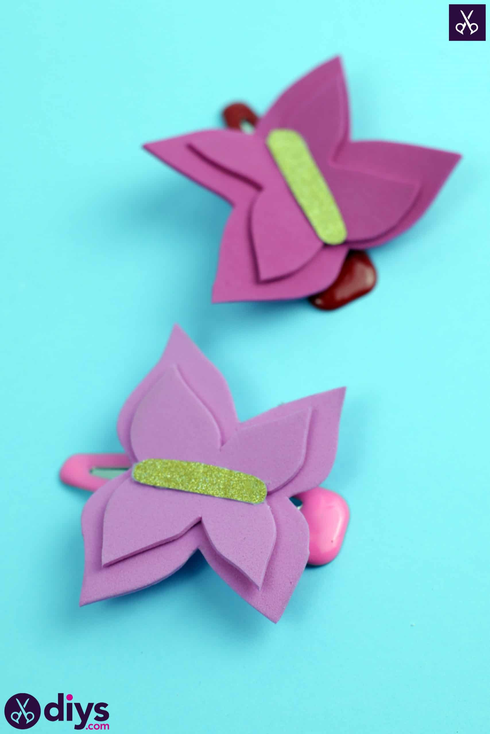Diy butterfly barrette pink color