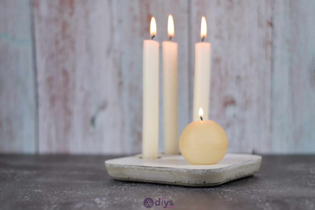 Diy concrete candle holder plate modern