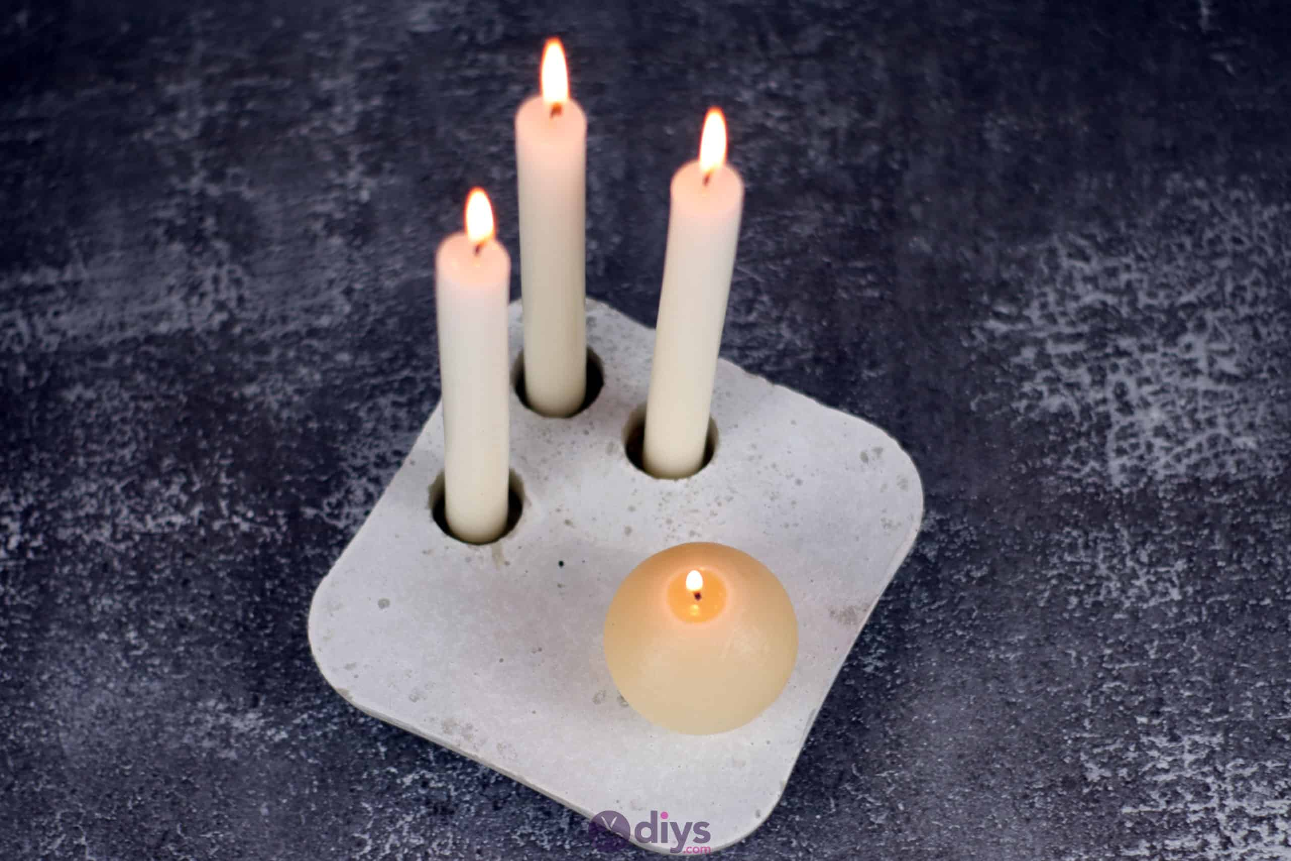 Diy concrete candle holder plate project