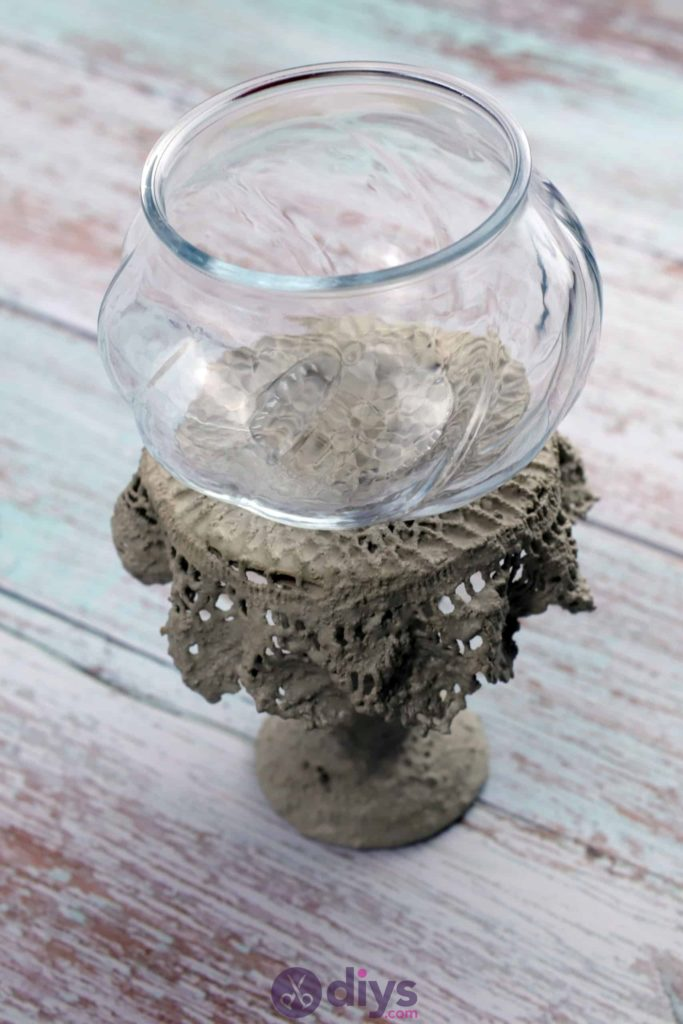 Diy concrete doily stand glass