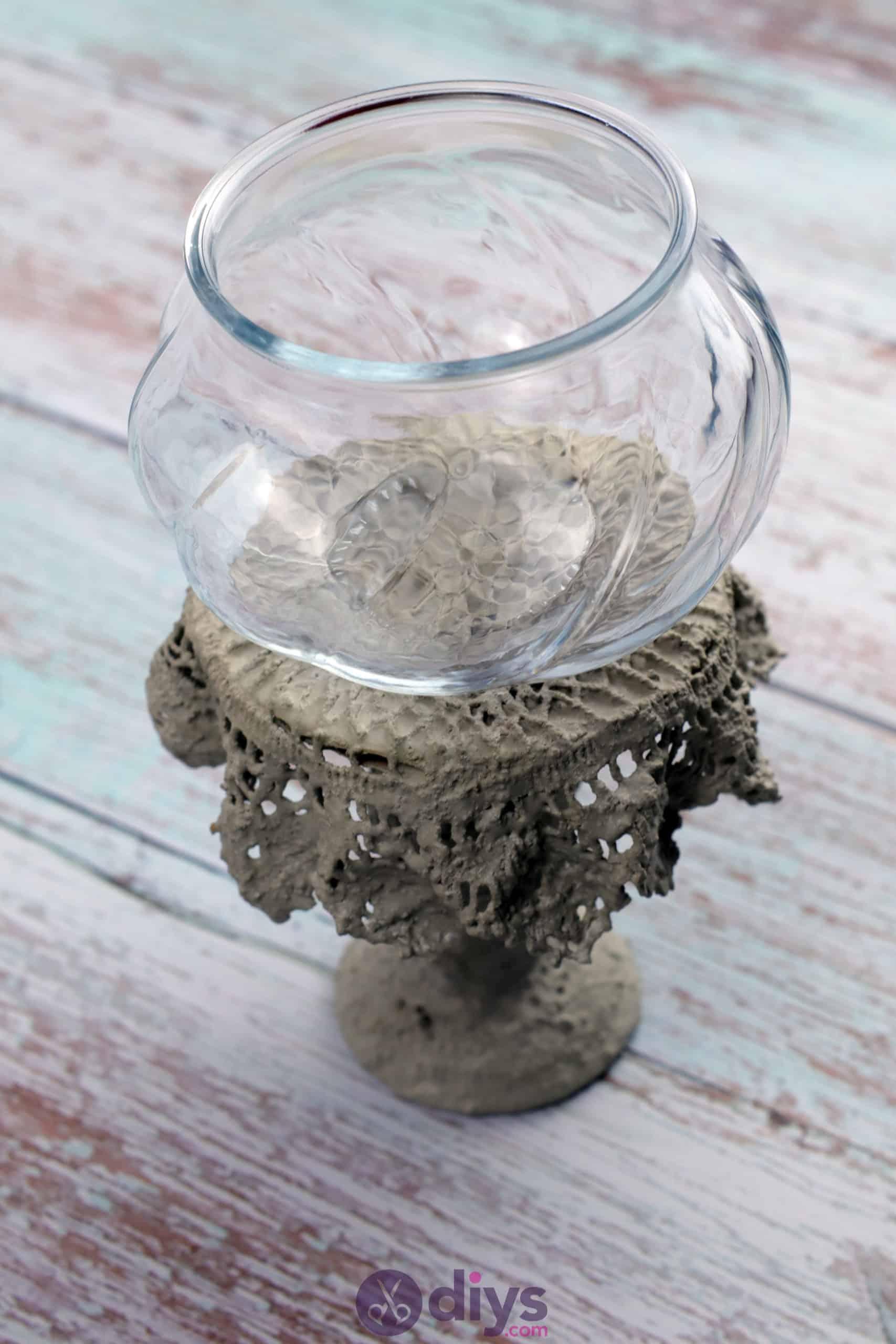 Diy concrete doily stand glass