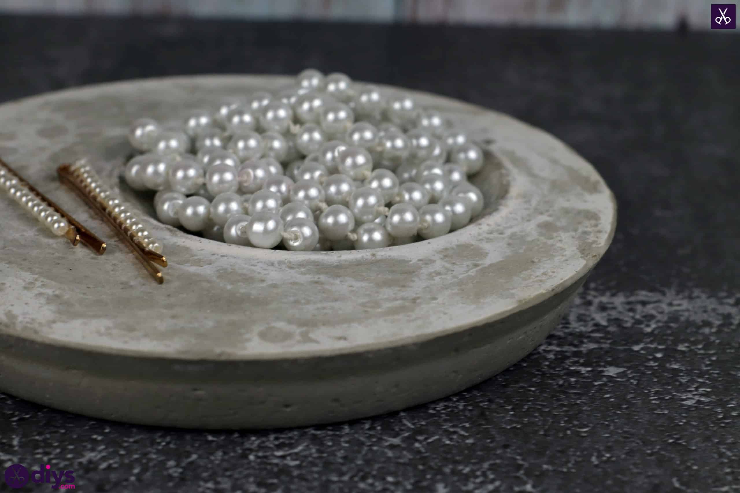 Diy concrete jewelry holder dish storage