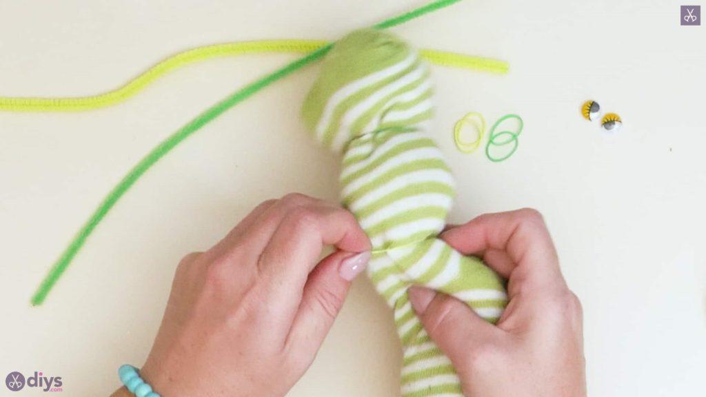 Diy no sew sock worm step 4a