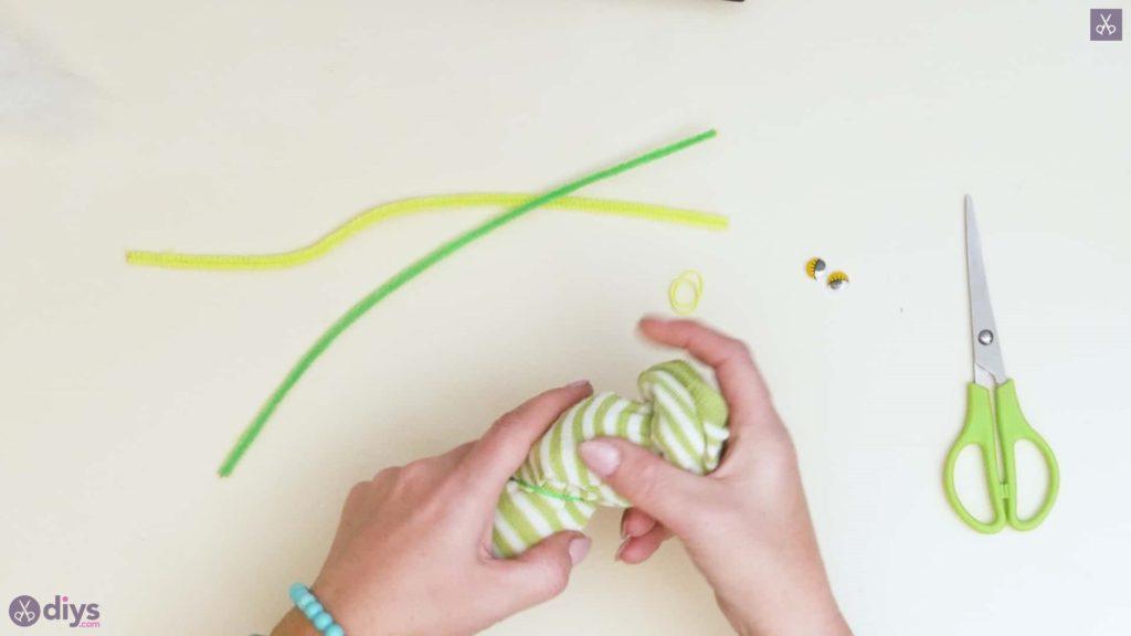 Diy no sew sock worm step 4b