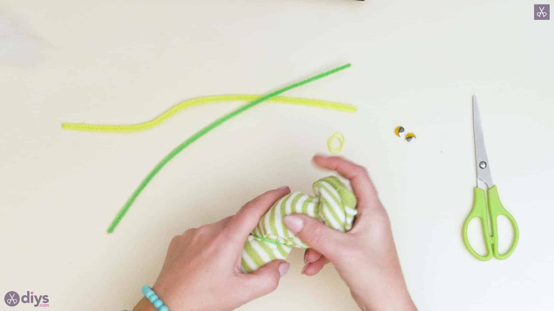 Diy no sew sock worm step 4b