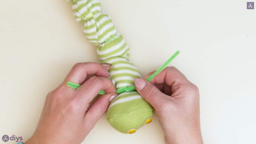 Diy no sew sock worm step 7c