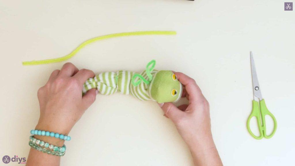 Diy no sew sock worm step 7e