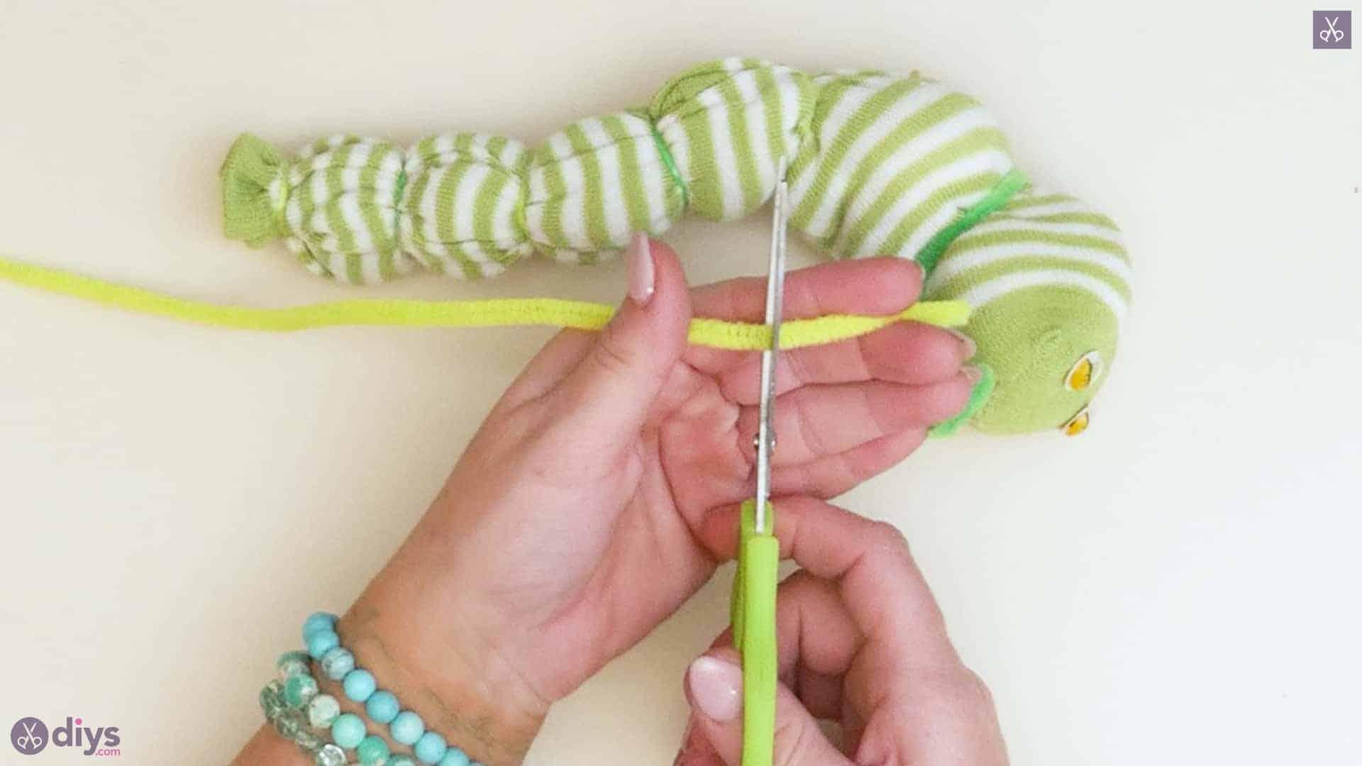 Diy no sew sock worm step 8