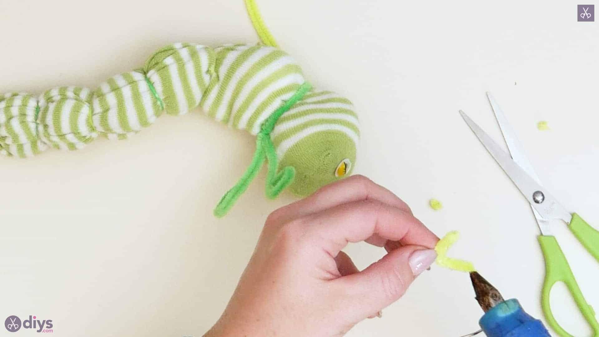 Diy no sew sock worm step 8a