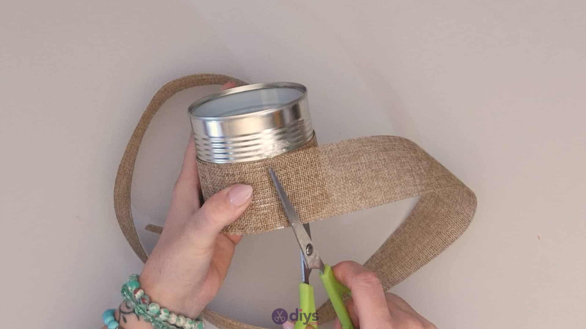 Diy rustic tin can container add burlap