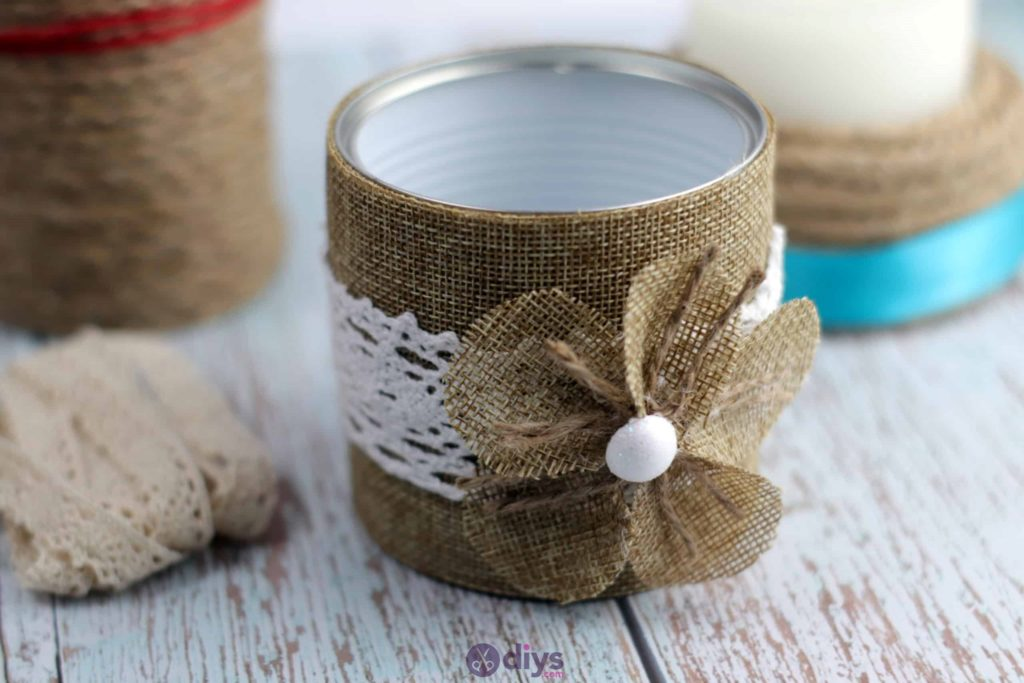 Diy rustic tin can container burlap