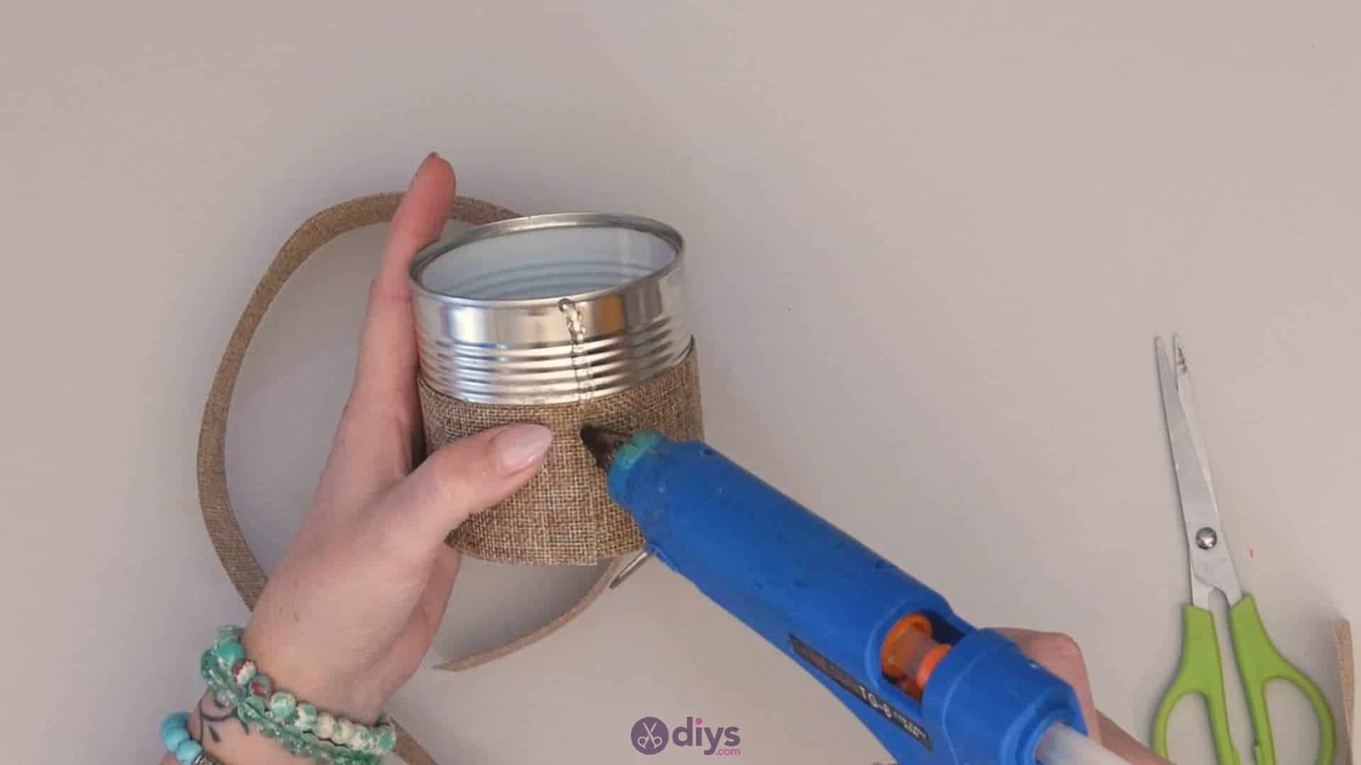 Diy rustic tin can container glue