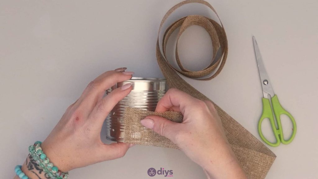 Diy rustic tin can container wrapp