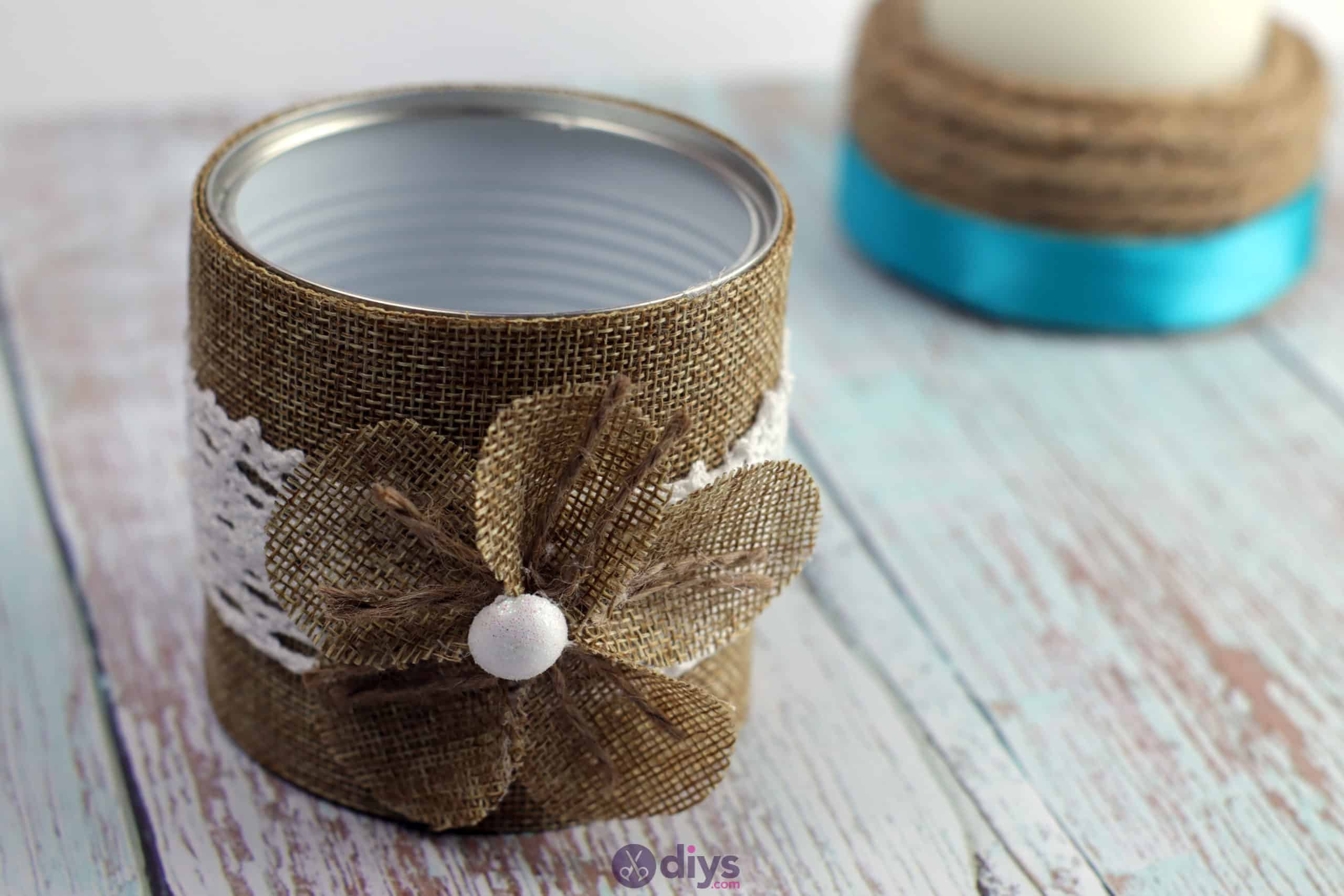 Diy rustic tin can container