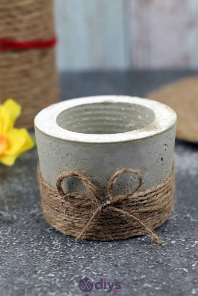 Diy small concrete planter jute