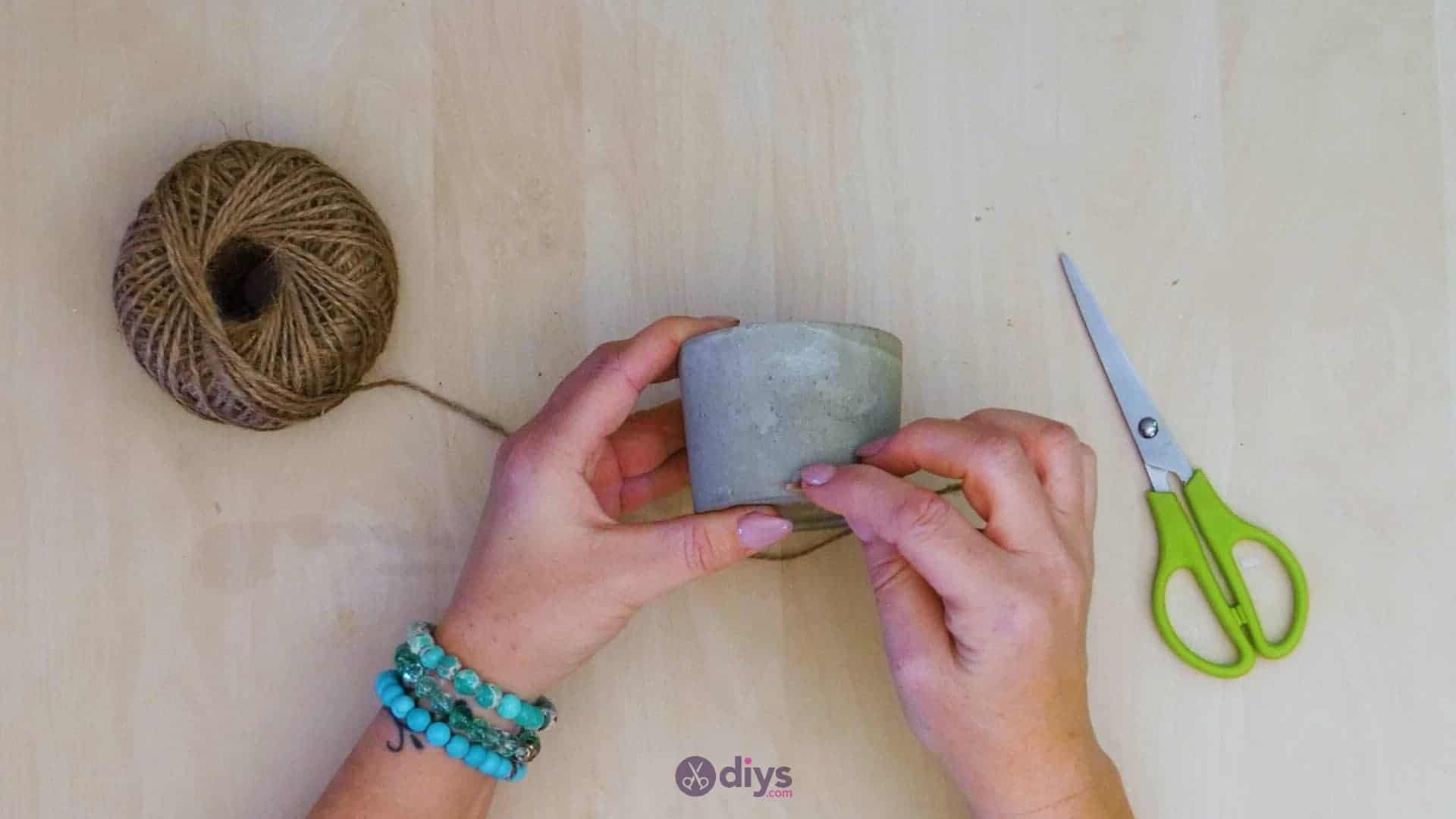 Diy small concrete planter step wrapping