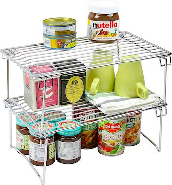 Decobros 2 pack of stackable kitchen cabinet organizer racks
