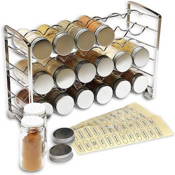 Decobros spice rack stand with 18 bottles