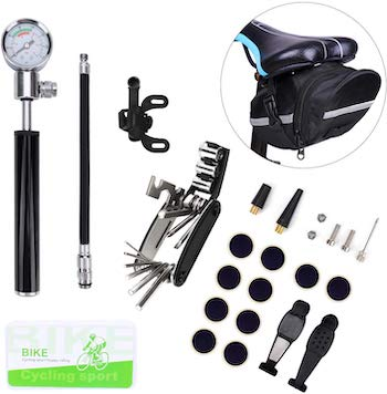 Freelive bike tire repair kit, hand pump, and under seat case