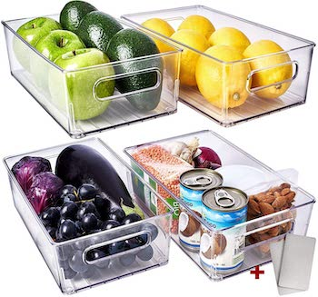 Fullstart clear acrylic fridge organizer bins