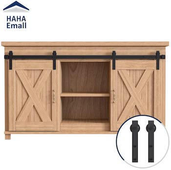 Haha emall steel and wood sliding cabinet barn door