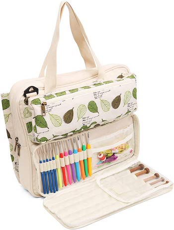 Lavievert knitting tote bag with needle and hook slots