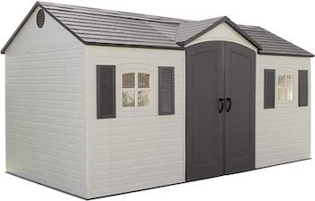 Lifetime double wide outdoor storage shed with shutters