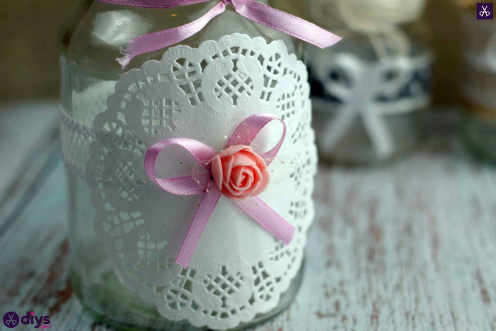 Mason jar centrepiece for weddings bow