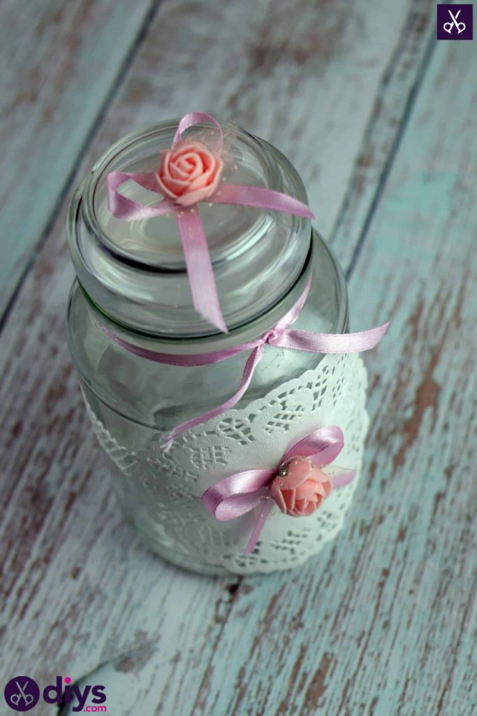 Mason jar centrepiece for weddings lace