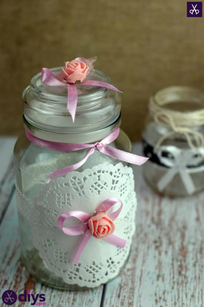 Mason jar centrepiece for weddings ribbon
