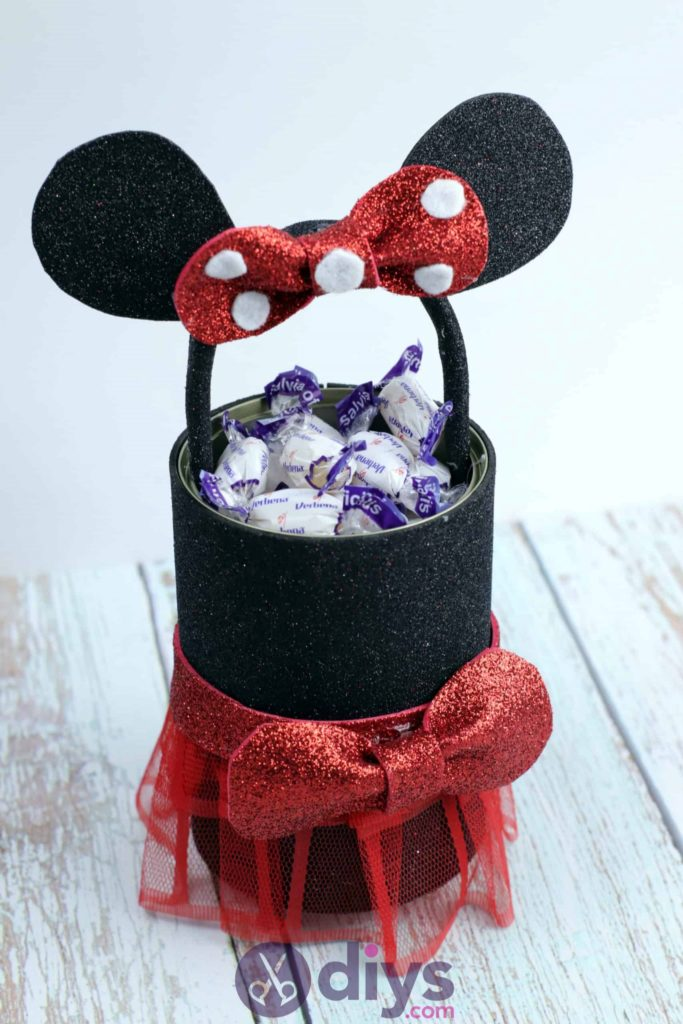 Minnie mouse tin can container diy